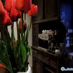 Auberge de Cassiel - seasonal flowers and a gleaming coffee machine